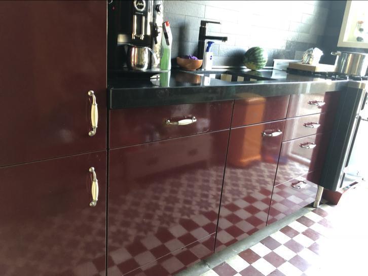 Tweedehands Rechte Keuken : Complete rode hooglans rechte keuken meter boretti graniet