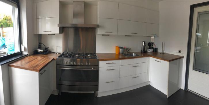 U Vorm Keuken : Moderne witte hoogglans l of u keuken apparatuur wand