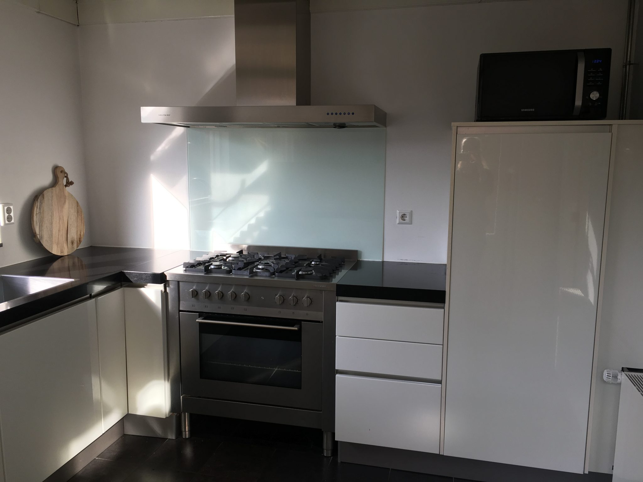 Moderne U Keukens : Luxe moderne witte hoogglans u vorm keuken graniet blad